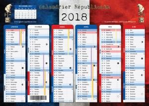 calendrier républicain 2018