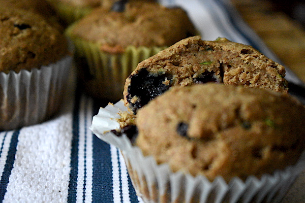 Whole Wheat Blueberry Zucchini Muffins | Healthy, No Refined Sugar, Sweetened with Maple Syrup! | PETITECHEFBLOG.COM