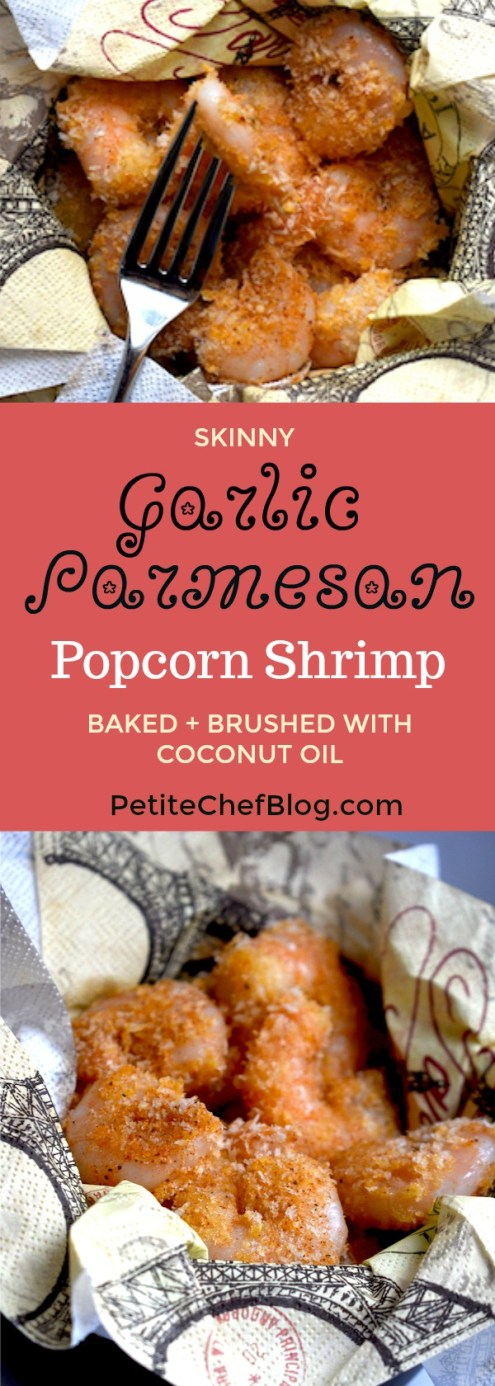 Skinny Garlic Parmesan Popcorn Shrimp | Baked not fried, brushed with coconut oil. | PETITECHEFBLOG.COM