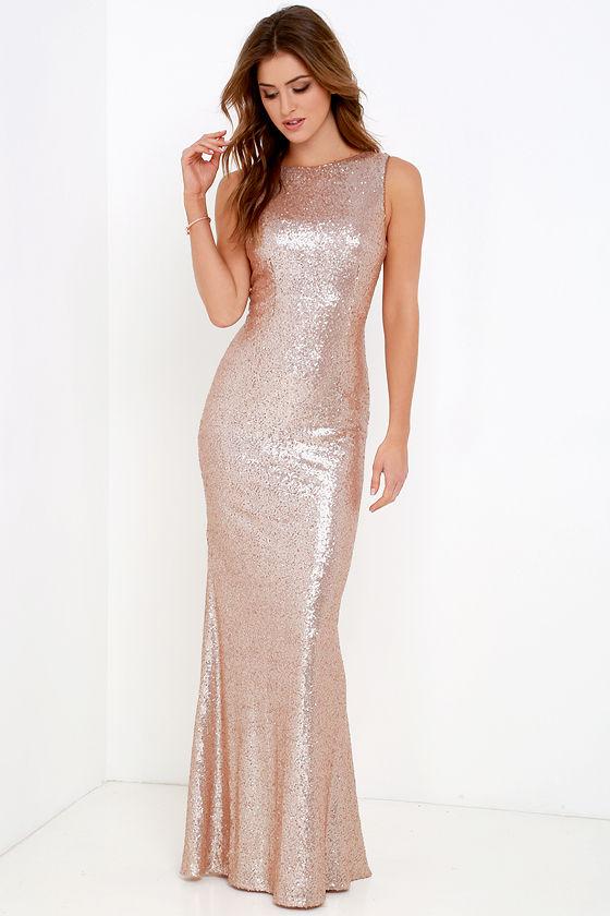 SLINK AND WINK MATTE ROSE GOLD SEQUIN MAXI DRESS