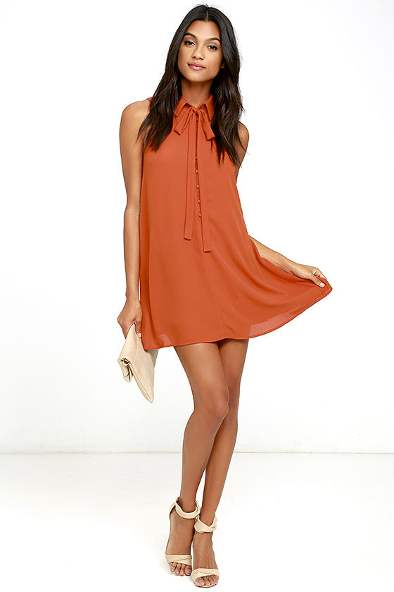J.O.A. TAMBOURINE DREAM RUST ORANGE SWING DRESS