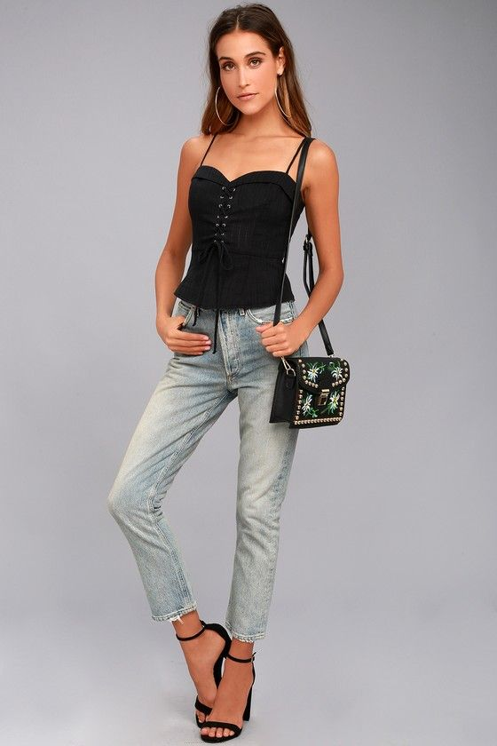 ADMIRED BY ALL BLACK LACE-UP PEPLUM TOP