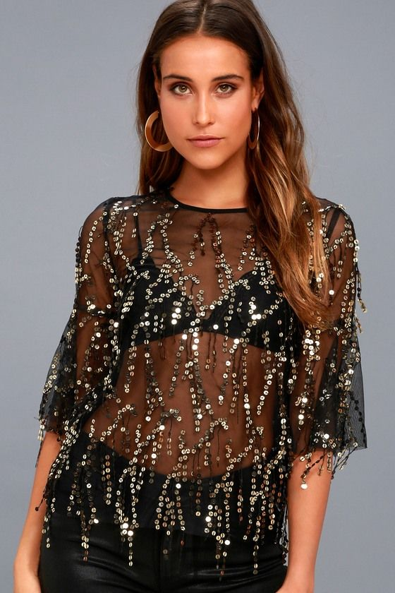 FREMONT STREET SHEER BLACK AND GOLD SEQUIN TOP