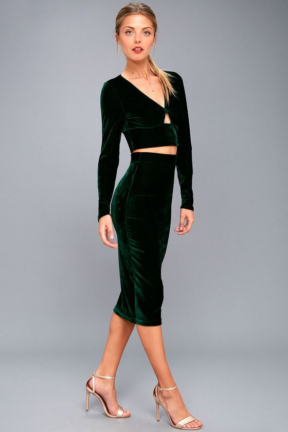 MY ALL FOREST GREEN VELVET TWO-PIECE DRESS