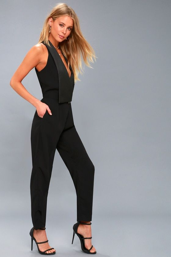 PARK AVENUE BLACK SLEEVELESS JUMPSUIT