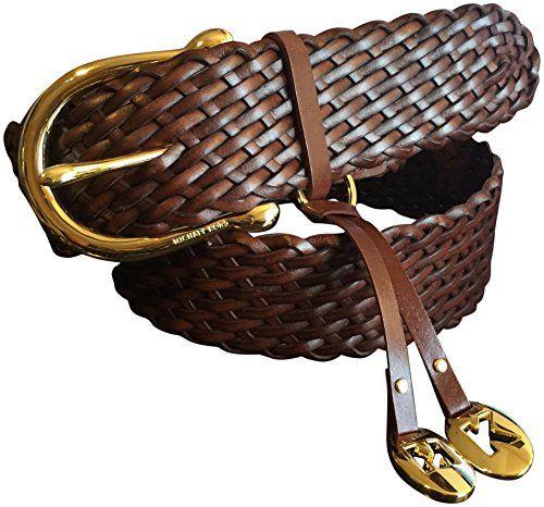 Michael Kors Braided Charmed Wide Gold Tone Buckle Brown Belt