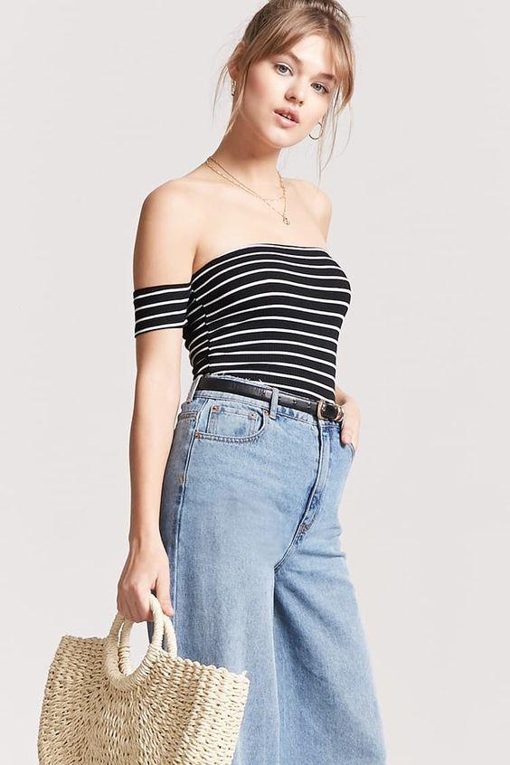 Stripe Off-the-Shoulder Crop Top