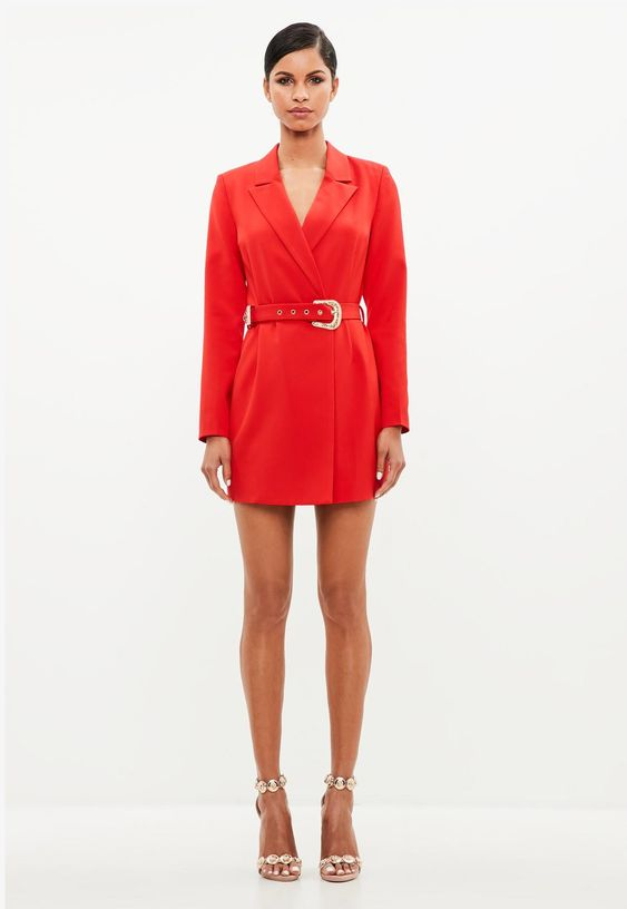 peace + love red belted blazer dress