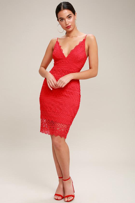 MIAMI NIGHTS RED CROCHET LACE BODYCON DRESS