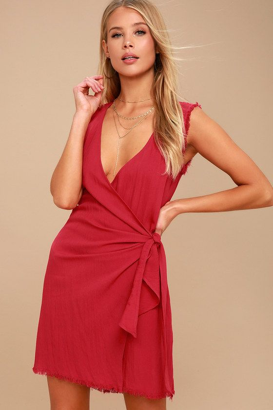 MERIDIAN RED SLEEVELESS WRAP DRESS