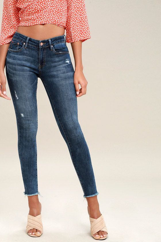 Casual & Cute! EPPERLY DARK WASH DISTRESSED ANKLE SKINNY JEANS