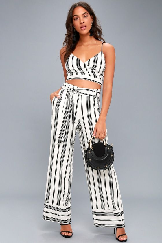 ELSPETH BLACK AND WHITE STRIPED TWO-PIECE JUMPSUIT