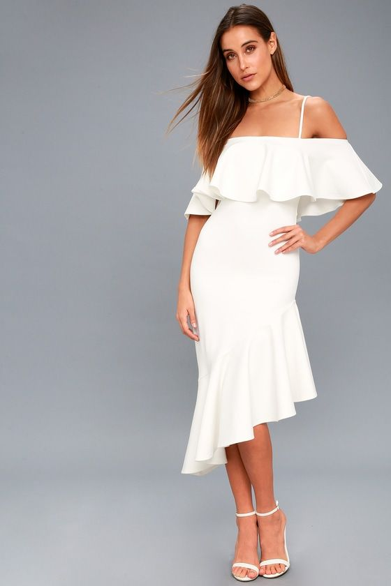 HERE I GLAM WHITE ASYMMETRICAL OFF-THE-SHOULDER MIDI DRESS