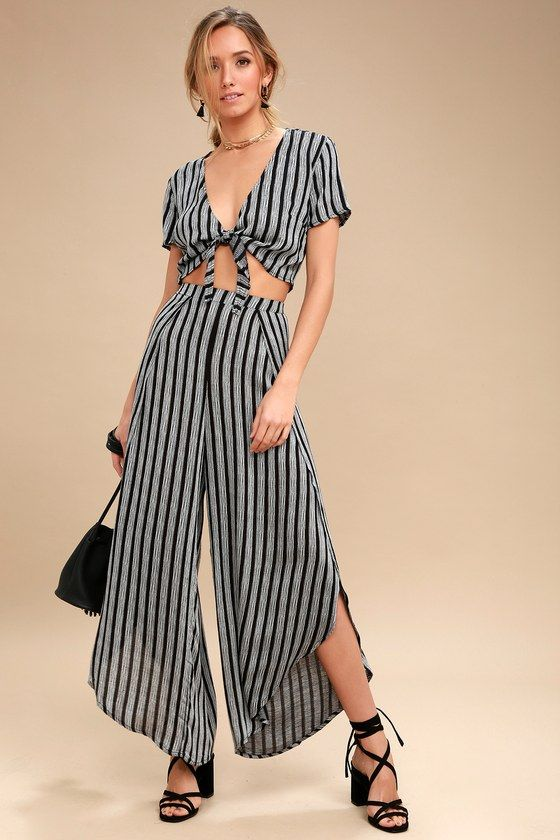 GRIMAUD GREY AND BLACK STRIPED TWO-PIECE JUMPSUIT