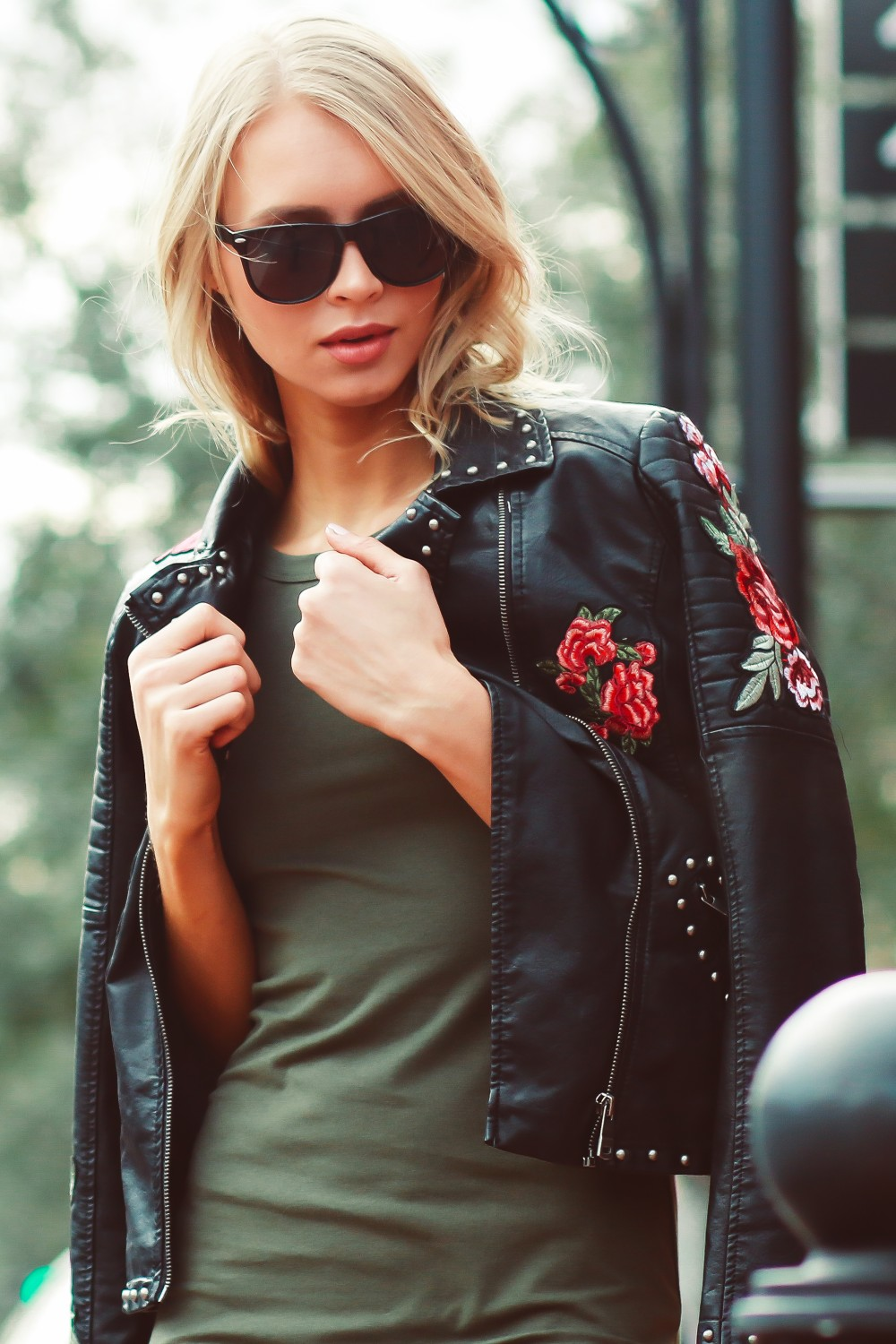 ROSE EMBROIDERED STUDDED LEATHER JACKET