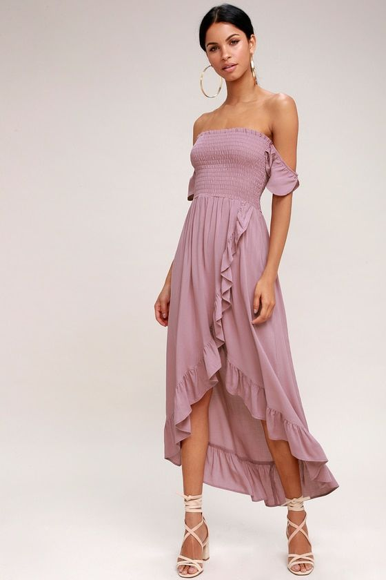 WILD HEARTS MAUVE OFF-THE-SHOULDER HIGH-LOW DRESS LUCY LOVE