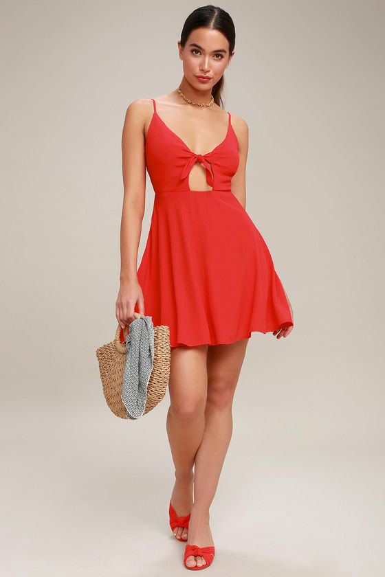PLAY IT COOL RED TIE-FRONT SKATER DRESS