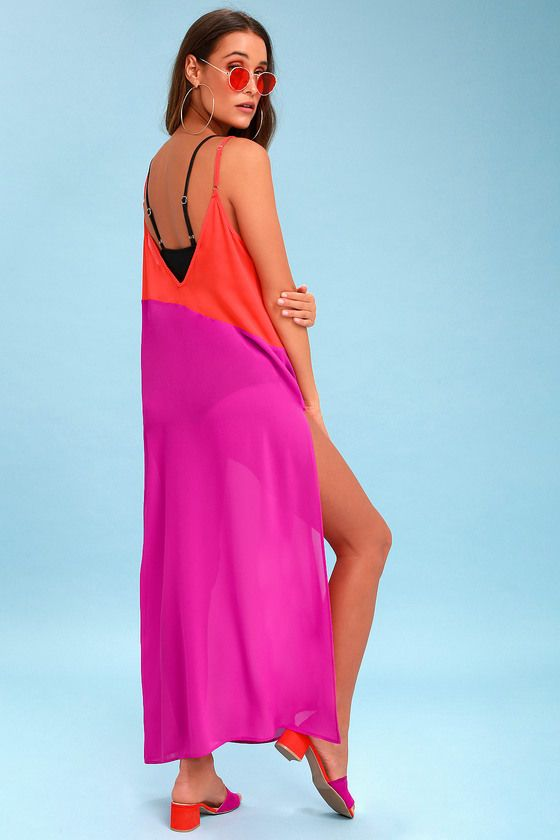 SEASIDE RETREAT CORAL RED AND MAGENTA MAXI COVER-UP