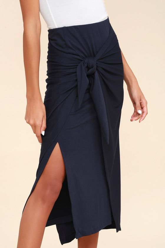 KNOT YOUR AVERAGE NAVY BLUE KNOTTED MIDI SKIRT