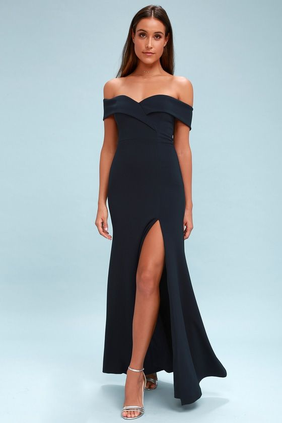 SONG OF LOVE NAVY BLUE OFF-THE-SHOULDER MAXI DRESS