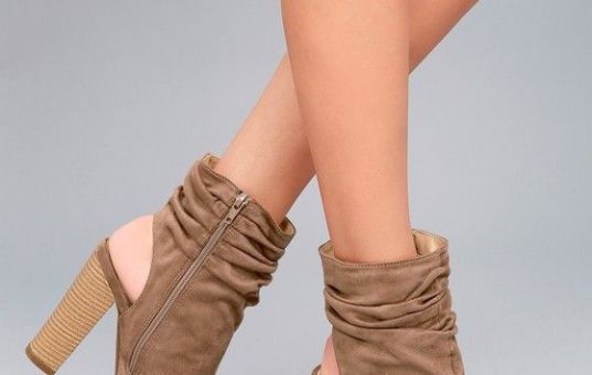 ONLY THE LATEST TAUPE SUEDE PEEP-TOE BOOTIES