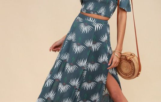 TRANCOSO DUSTY BLUE FLORAL PRINT TWO-PIECE MAXI DRESS