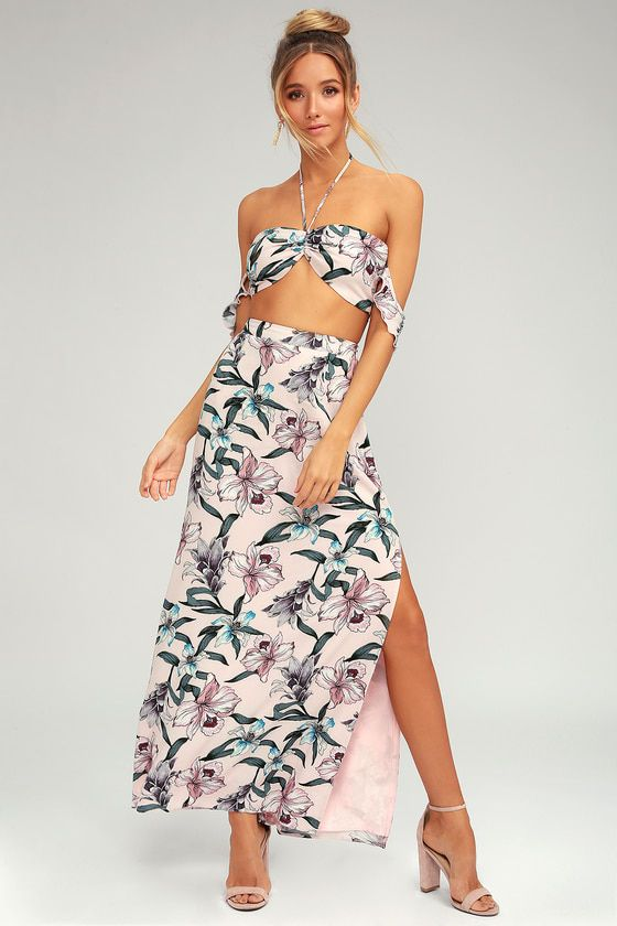 CURACAO BLUSH PINK FLORAL PRINT TWO-PIECE MAXI DRESS