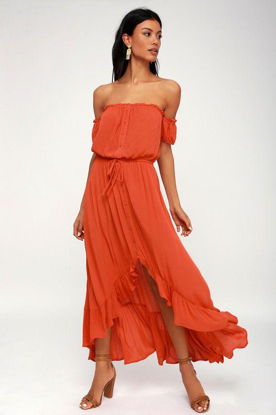 NATALIA RED ORANGE OFF-THE-SHOULDER HIGH-LOW DRESS