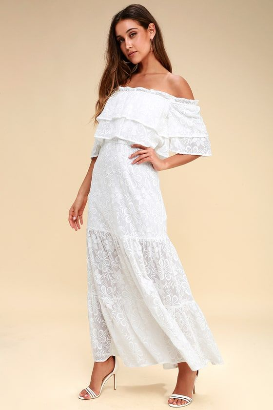 ANGELIA WHITE EMBROIDERED OFF-THE-SHOULDER MAXI DRESS