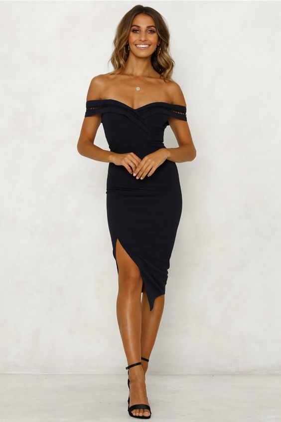 COMING AFTER YOU MIDI DRESS NAVY