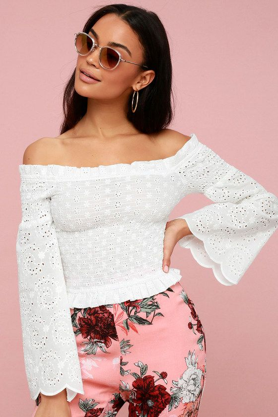 SIVAIN WHITE LACE SMOCKED OFF-THE-SHOULDER TOP