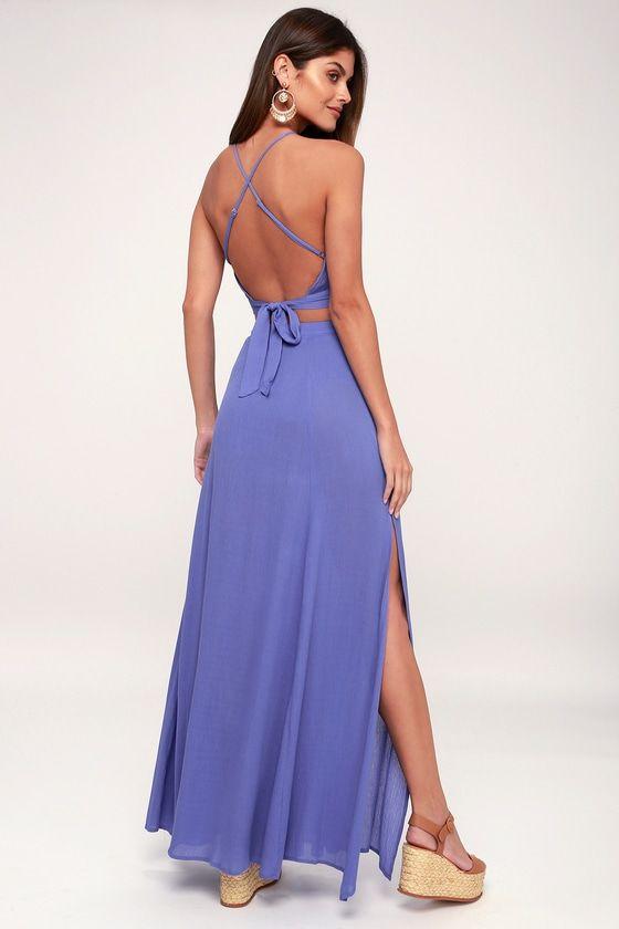 FETE READY PERIWINKLE BLUE TWO-PIECE MAXI DRESS