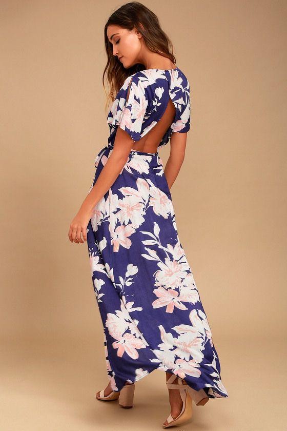 AZALEA REGALIA NAVY BLUE FLORAL PRINT WRAP MAXI DRESS