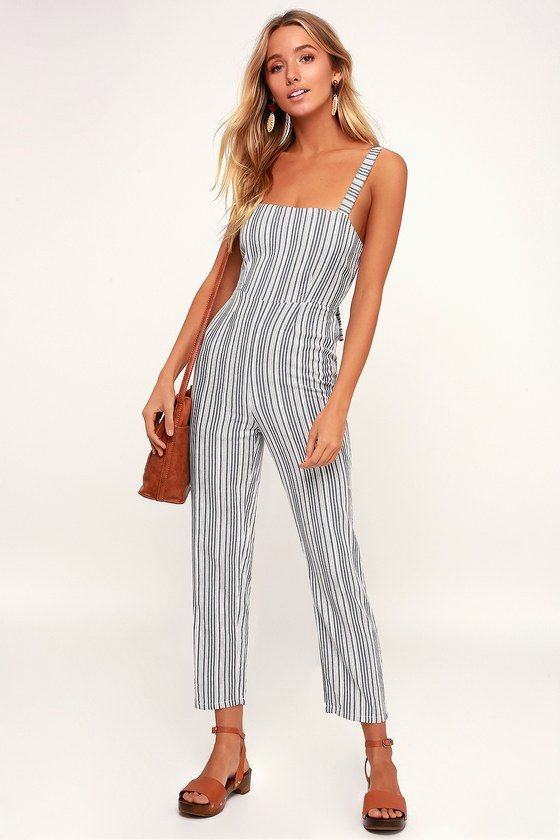 LOOKOUT WHITE AND GREY STRIPED TIE-BACK JUMPSUIT