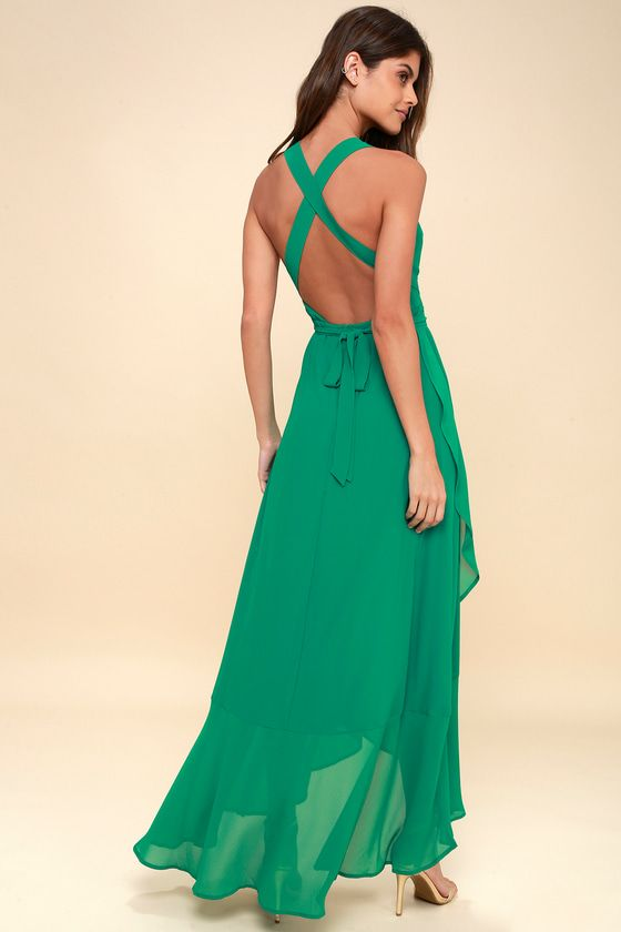 WRAP OF LUXURY GREEN CONVERTIBLE HIGH-LOW MAXI DRESS