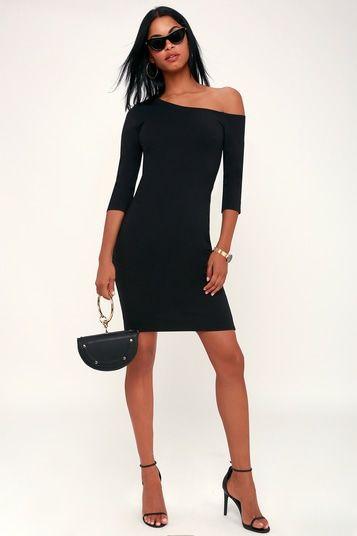 PRECIOUS THING BLACK ASYMMETRICAL OFF-THE-SHOULDER DRESS