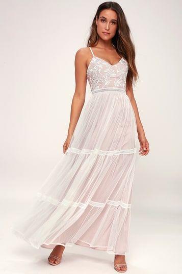 ELENORA WHITE EMBROIDERED MAXI DRESS