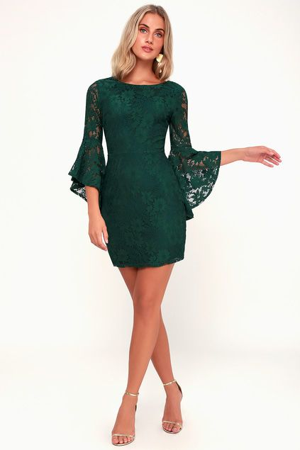 ALLURE 'EM IN FOREST GREEN LACE FLOUNCE SLEEVE DRESS