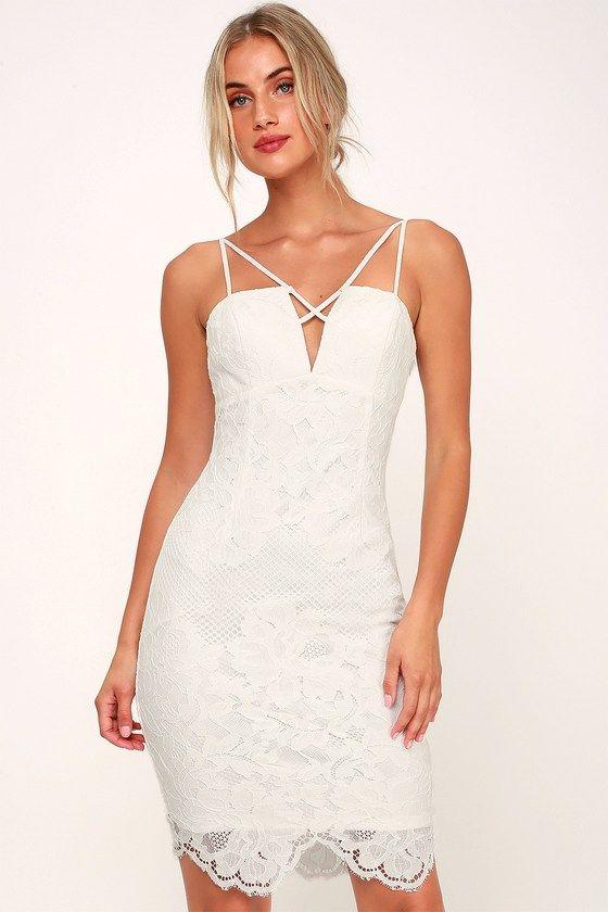 MILESTONE WHITE LACE STRAPPY BODYCON DRESS