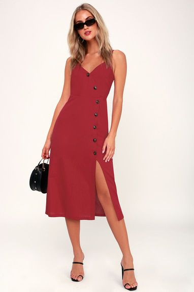 TERRACE SUNSET BERRY RED BUTTON-FRONT MIDI DRESS