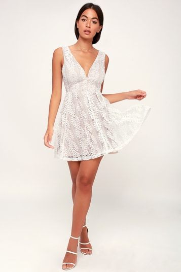 ALL OF MY HEART WHITE LACE SKATER DRESS