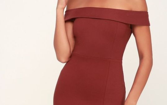 WAY OF LOVE WINE RED OFF-THE-SHOULDER BODYCON