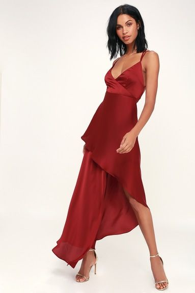 BORA BORA WINE RED SATIN HIGH-LOW MAXI DRESS