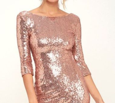 DELIGHTFUL WAYS ROSE GOLD SEQUIN DRESS