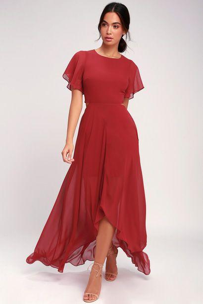 BOHEMIAN RHAPSODY BRICK RED CUTOUT HIGH-LOW DRESS
