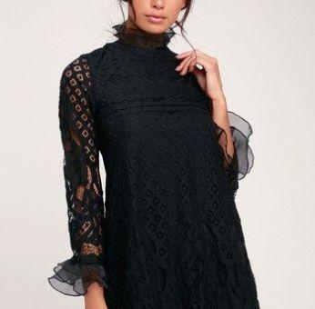 LOVE AND JOY BLACK LACE LONG SLEEVE SHIFT DRESS