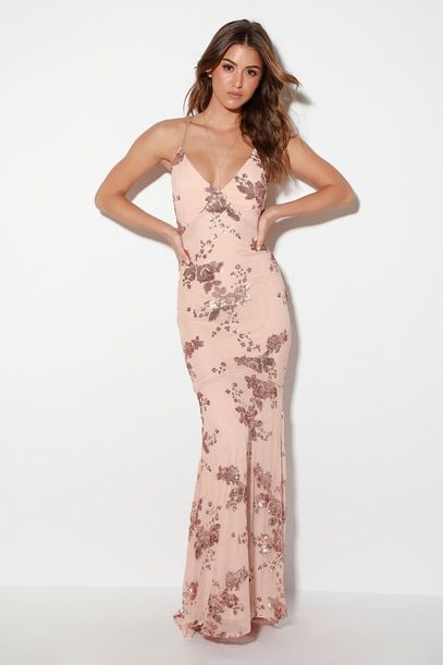 VALHALLA ROSE GOLD SEQUIN LACE-UP MAXI DRESS
