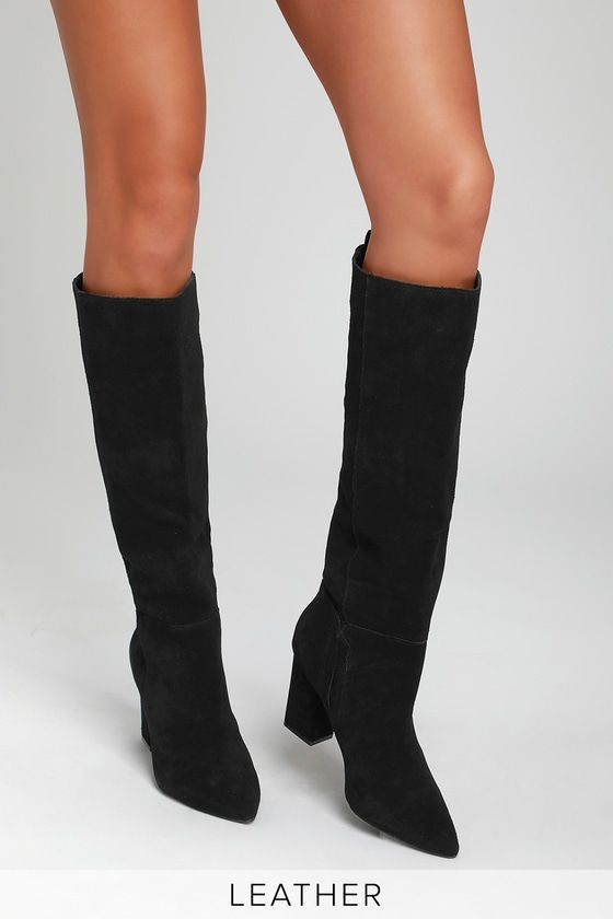 RADDLE BLACK SUEDE LEATHER KNEE-HIGH BOOTS