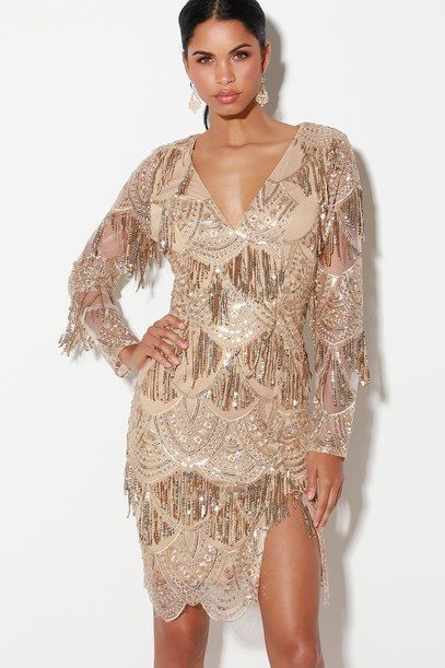 AWE-INSPIRING GOLD EMBROIDERED SEQUIN MIDI DRESS