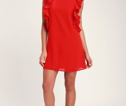 Holiday dresses…WE GOT THE PLEAT RED STATEMENT SLEEVE SHIFT DRESS